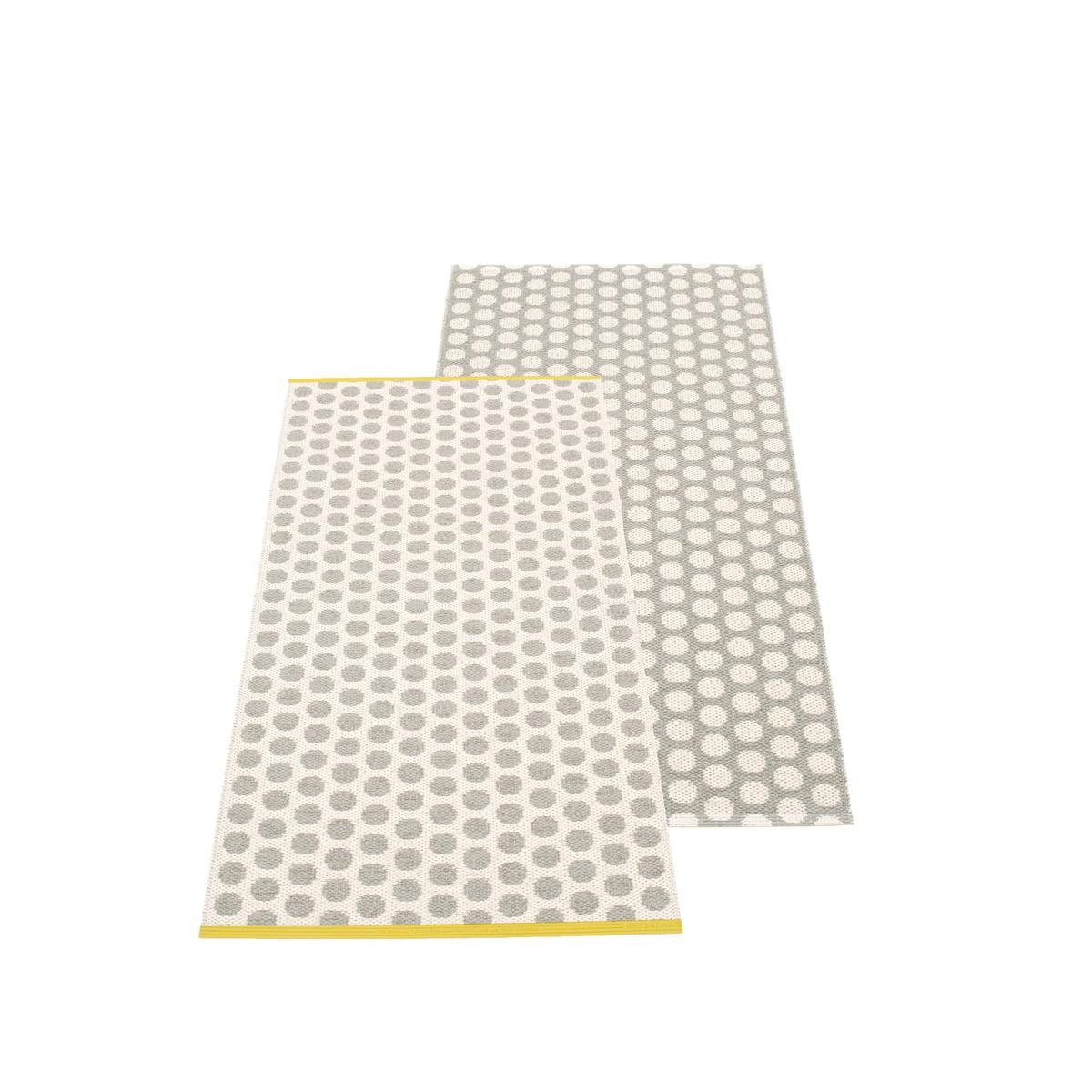 Pappelina noa wendeteppich 70 x 150 cm warm grey vanilla mustard edge einzel