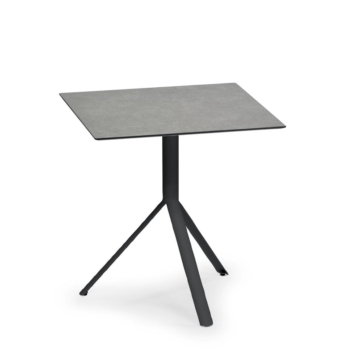 Weishäupl - Trio Bistrotisch quadratisch, 70 x 70 cm, Edelstahl schwarz / HPL steingrau | Küche und Esszimmer > Bar-Möbel > Bar-Stehtische | Steingrau | Weishäupl