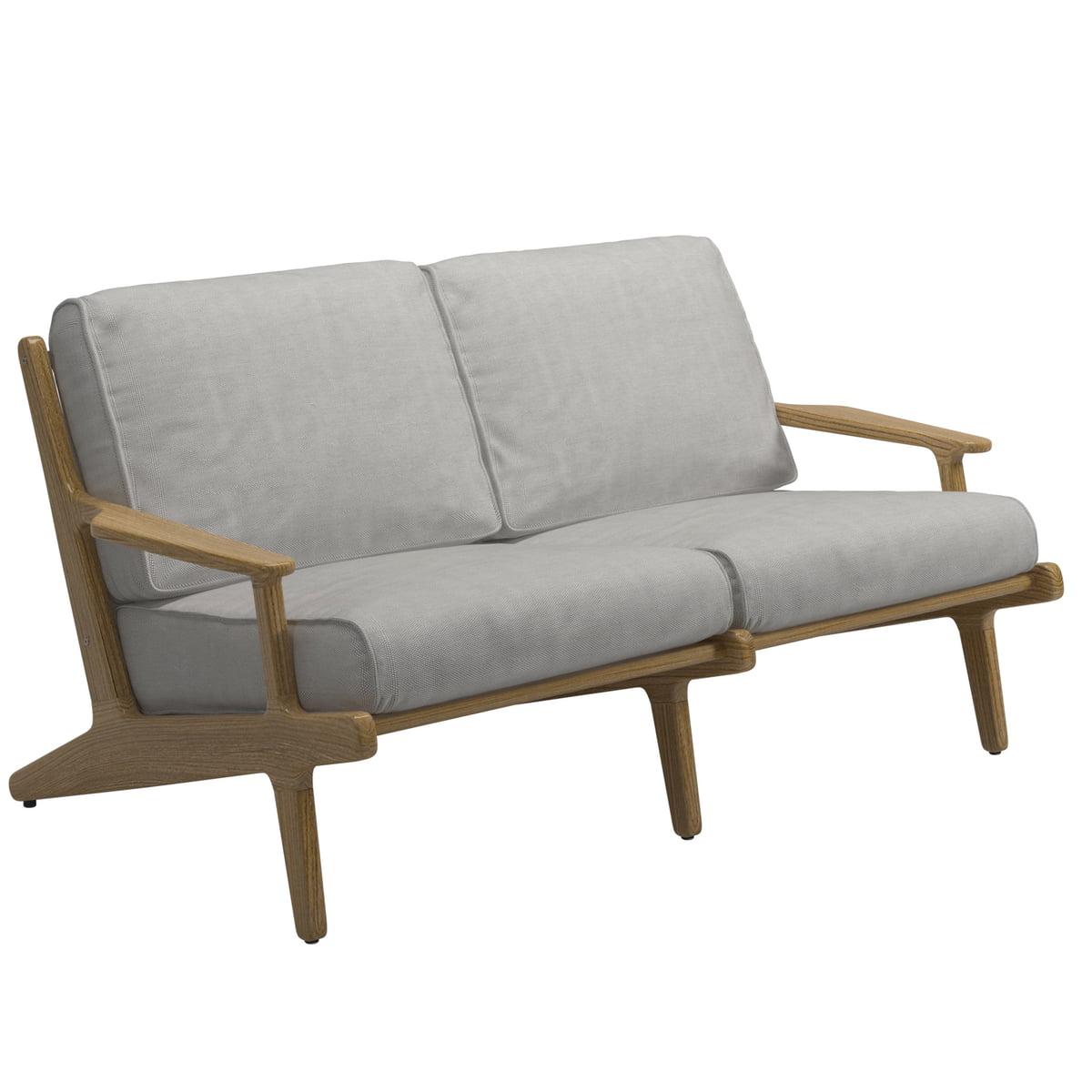 Gloster - Bay Lounge 2-Sitzer Sofa, Teak / seagull | Wohnzimmer | Braungrau | Gloster