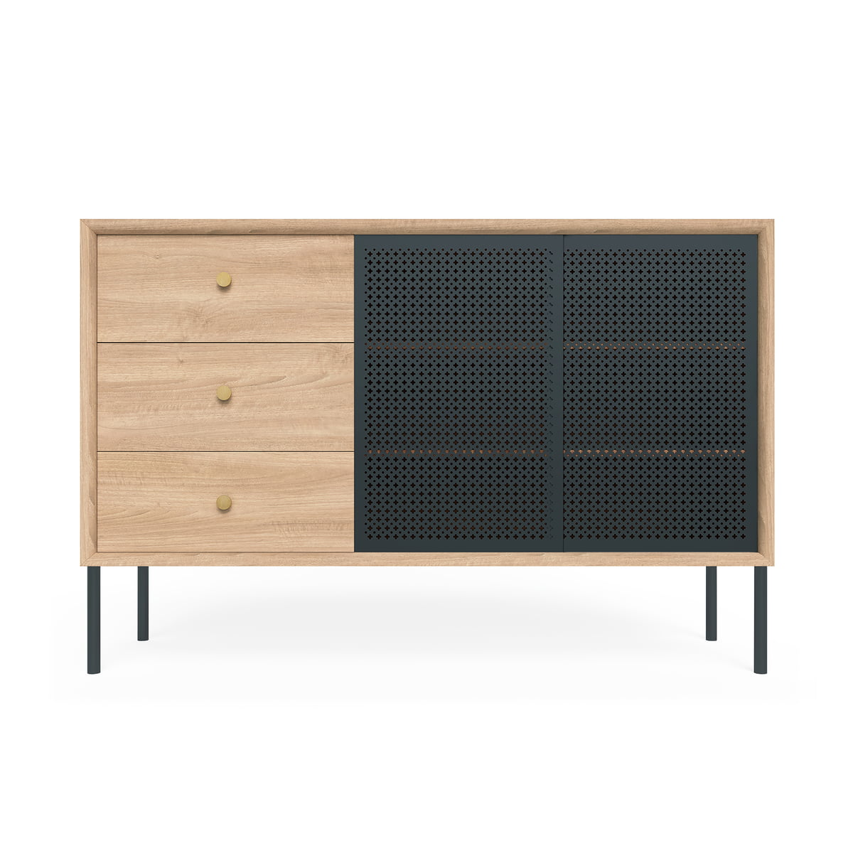 Hartô - Gabin Sideboard hoch mit Schubladen, Eiche / anthrazitgrau (RAL 7016) | Wohnzimmer > Schränke > Sideboards | Anthrazitgrau (ral 7016) | Hartô