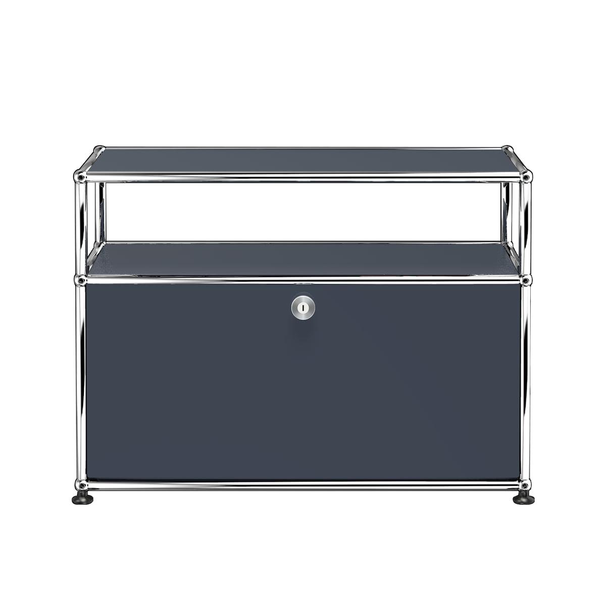 USM Haller - TV-/Hi-Fi-Möbel S mit Klapptür und Ablagefläche, anthrazitgrau (RAL 7016) | Wohnzimmer > TV-HiFi-Möbel > TV-Lowboards | Usm