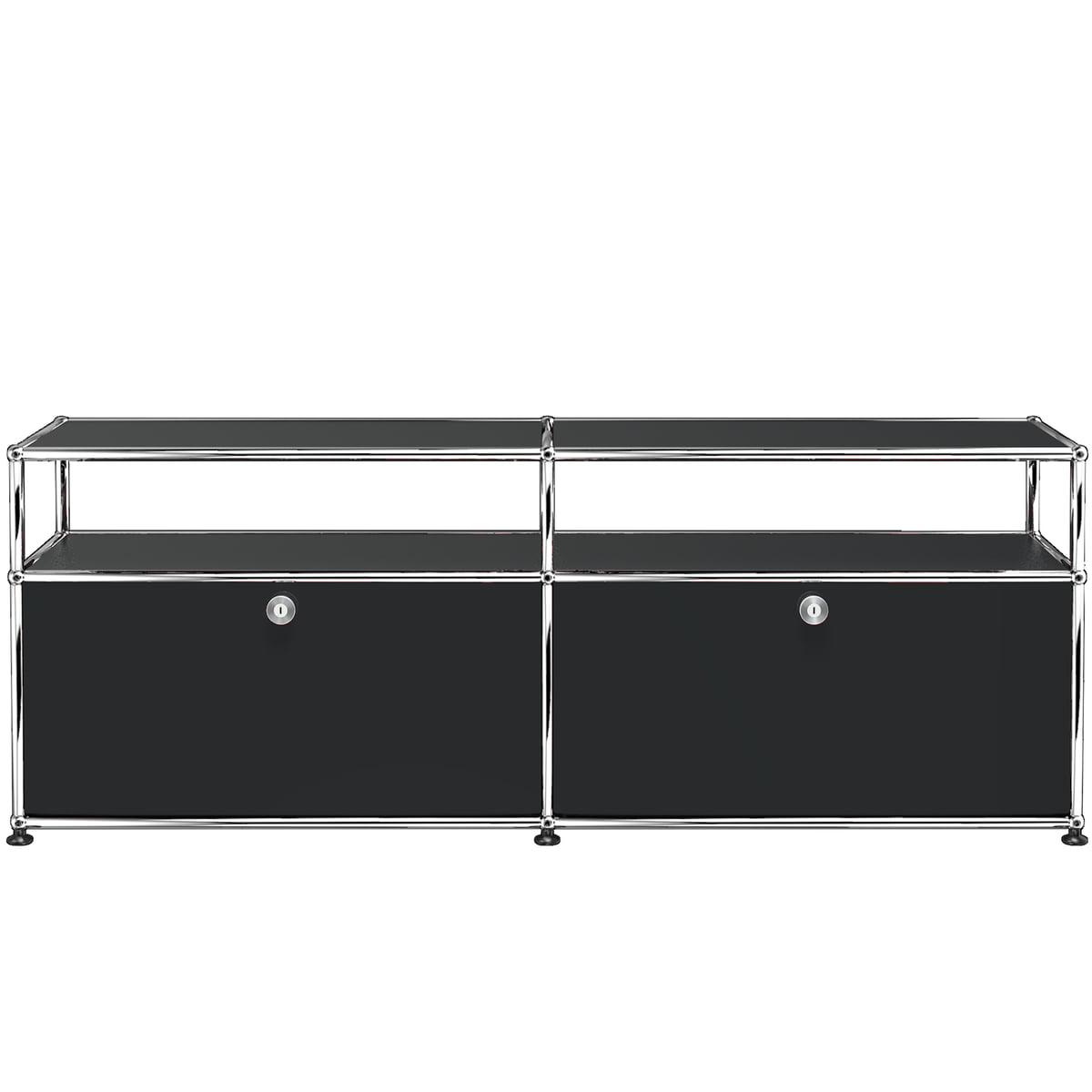 USM Haller - TV-/Hi-Fi Lowboard M zwei Klapptüren und Ablagefläche, graphitschwarz (RAL 9011) | Wohnzimmer > TV-HiFi-Möbel | Schwarz | USM
