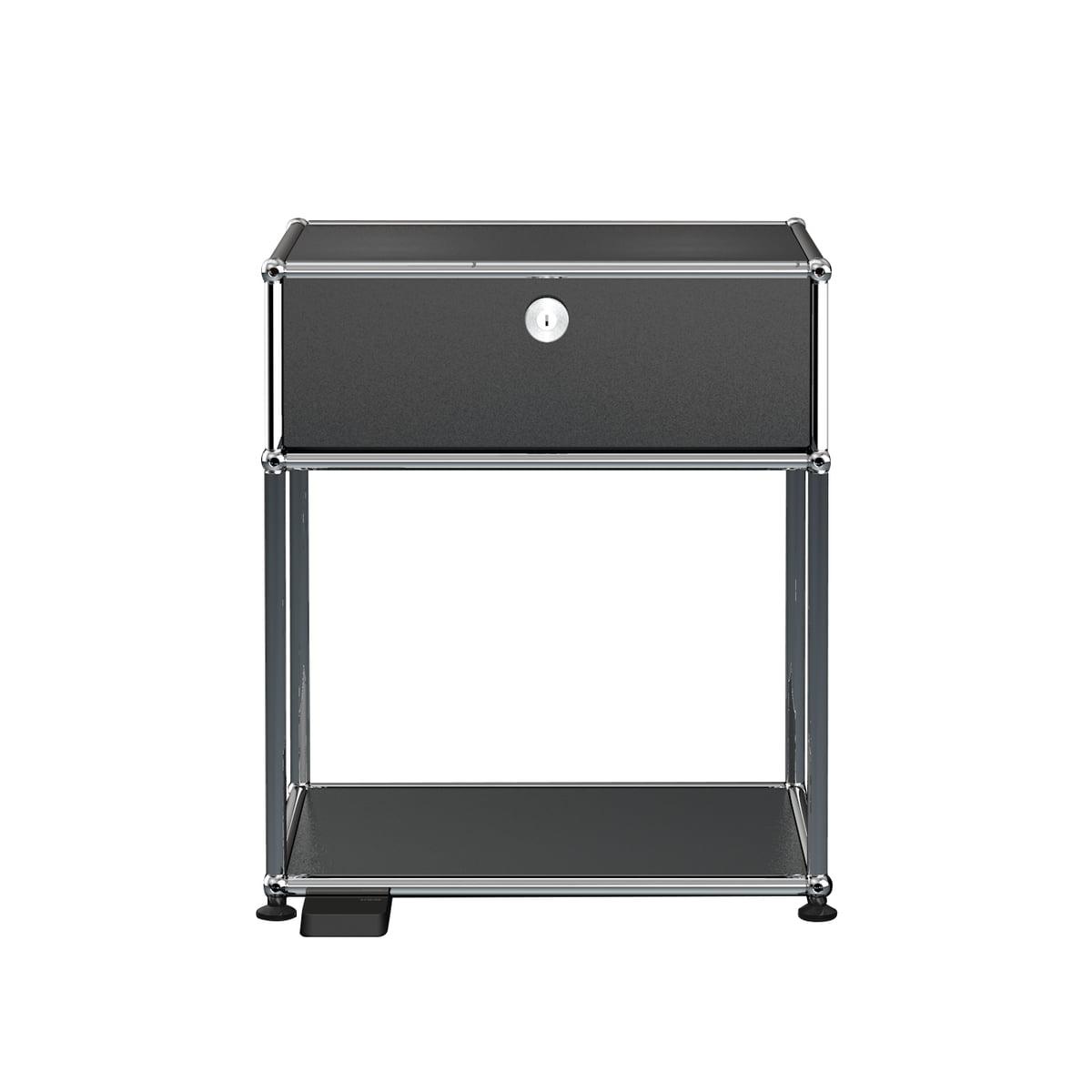 USM Haller E - Nachttisch mit Klapptür und dimmbarem Licht, graphitschwarz (RAL 9011) | Schlafzimmer > Nachttische | Schwarz | Usm
