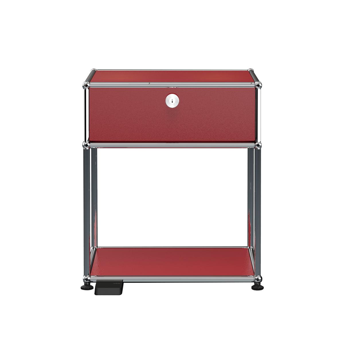 USM Haller E - Nachttisch mit Klapptür und dimmbarem Licht, USM rubinrot   Schlafzimmer > Nachttische   Rubinrot   USM