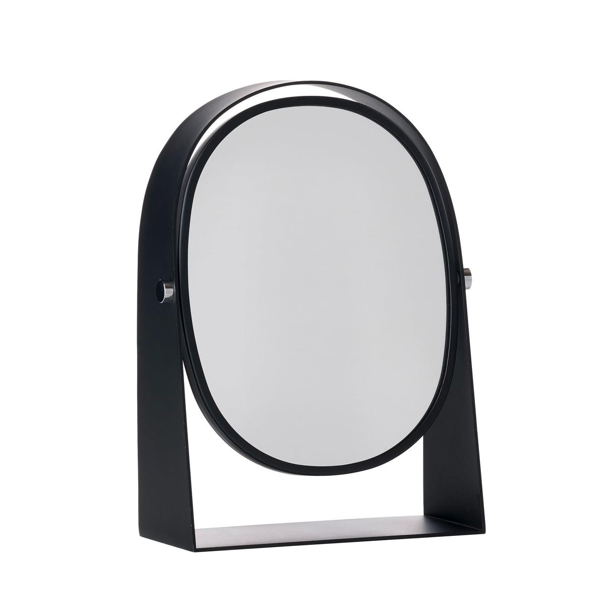 Zone Denmark - Kosmetikspiegel mit Vergrößerungseffekt oval, schwarz | Bad > Bad-Accessoires > Kosmetikspiegel | Schwarz | 18/8 edelstahl -  spiegelglas | Zone