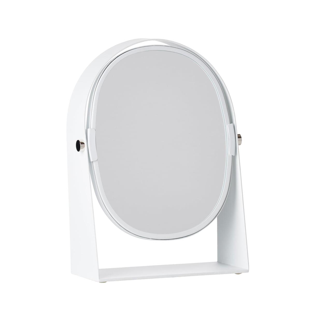Zone Denmark - Kosmetikspiegel mit Vergrößerungseffekt oval, weiß | Bad > Bad-Accessoires > Kosmetikspiegel | Weiß | Spiegelglas | Zone Denmark