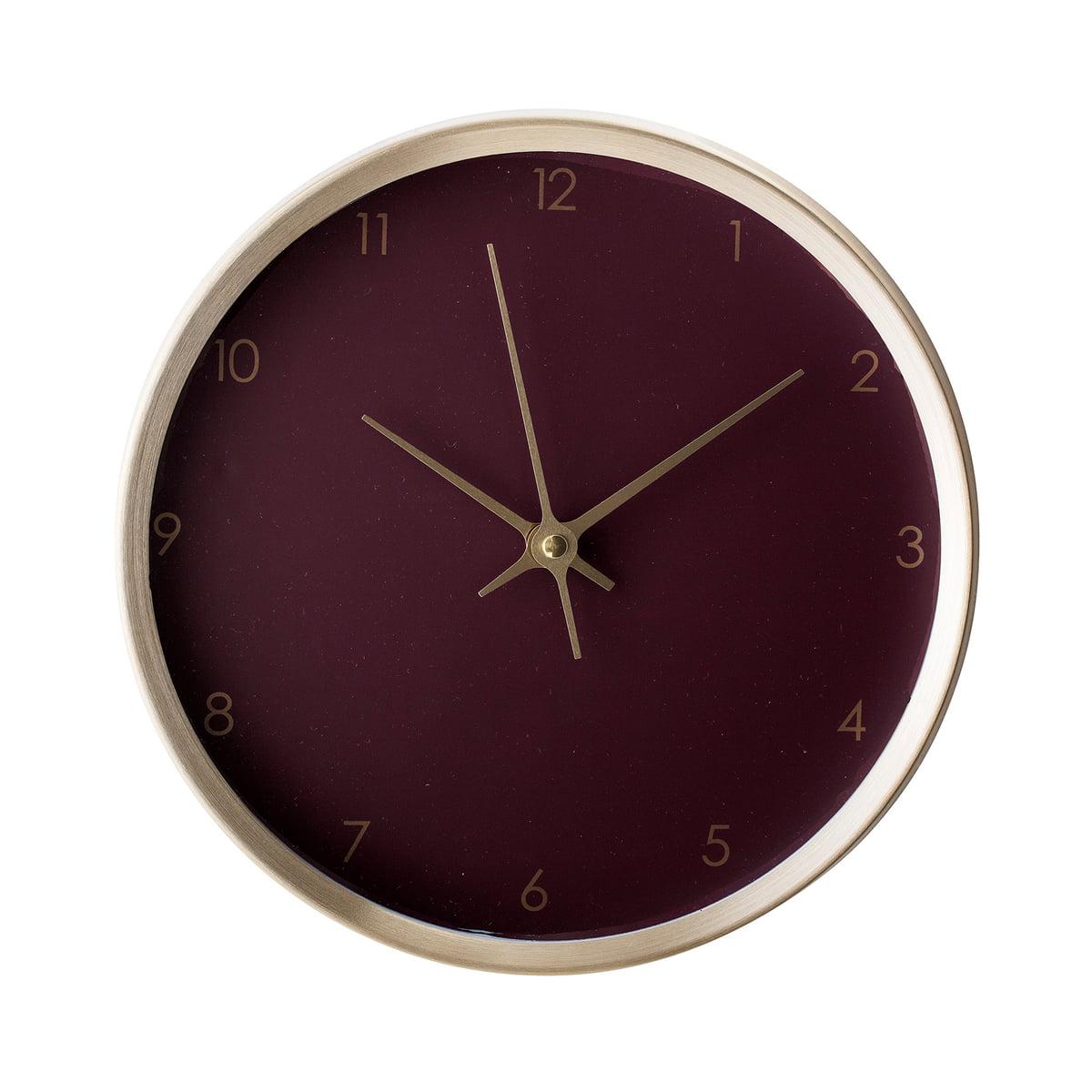 Bloomingville - Wanduhr Ø 25 cm, gold / bordeaux | Dekoration > Uhren > Wanduhren | Schwarz | Aluminium | Bloomingville