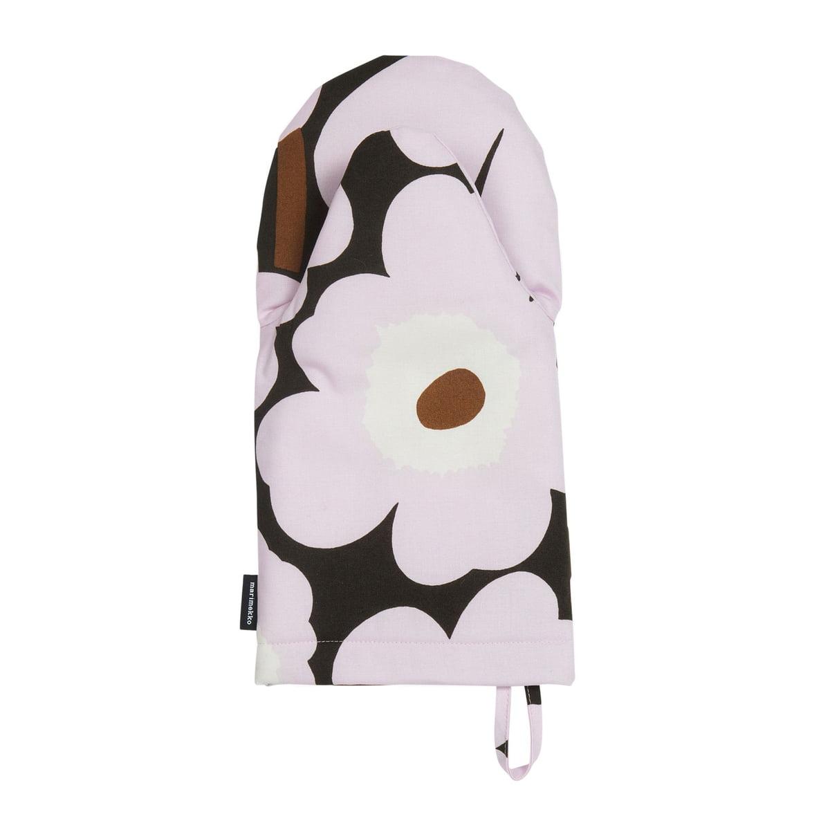 Marimekko - Pieni Unikko Ofenhandschuh, dunkelgrün / pink / braun (Frühling/Sommer 2019) | Küche und Esszimmer > Küchentextilien > Topflappen | Mehrfarbig | marimekko