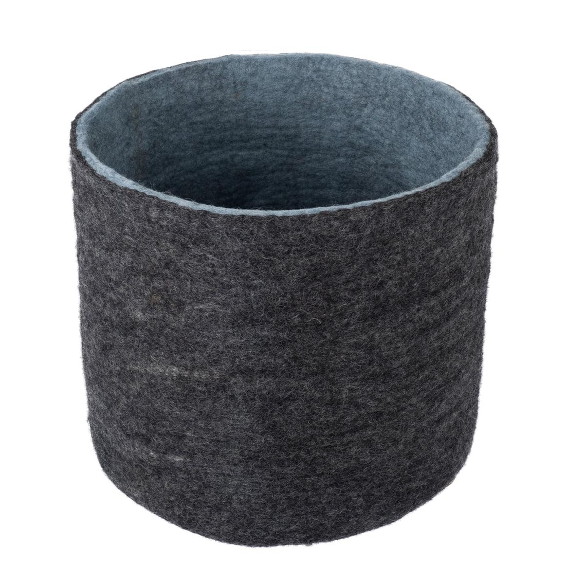 Myfelt filzkorb  hugo 40 h 46 cm anthrazit meliert hellblau frei