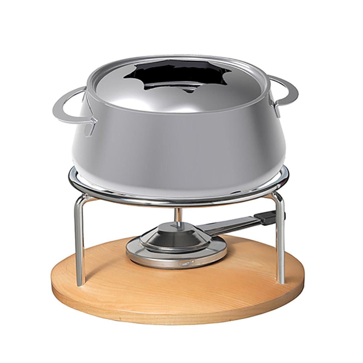 Stöckli - Natura Fonduegarnitur, Ø 21 cm | Küche und Esszimmer > Küchengeräte > Fondue | Edelstahl | Edelstahl -  rechaudsockel aus holz | Stöckli