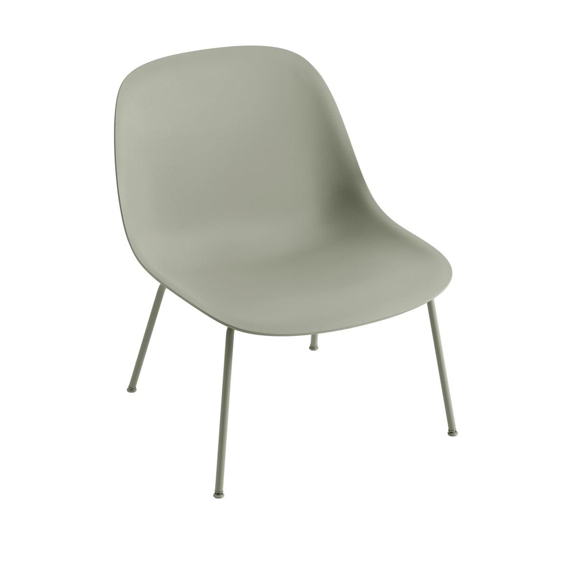 Muuto - Fiber Lounge Chair Tube Base, dusty green | Wohnzimmer > Sessel > Loungesessel | Dusty green | Sitzschale: 25% holzfaser -  70% pp (polyproplen) und 5% gefärbtes pp | Muuto