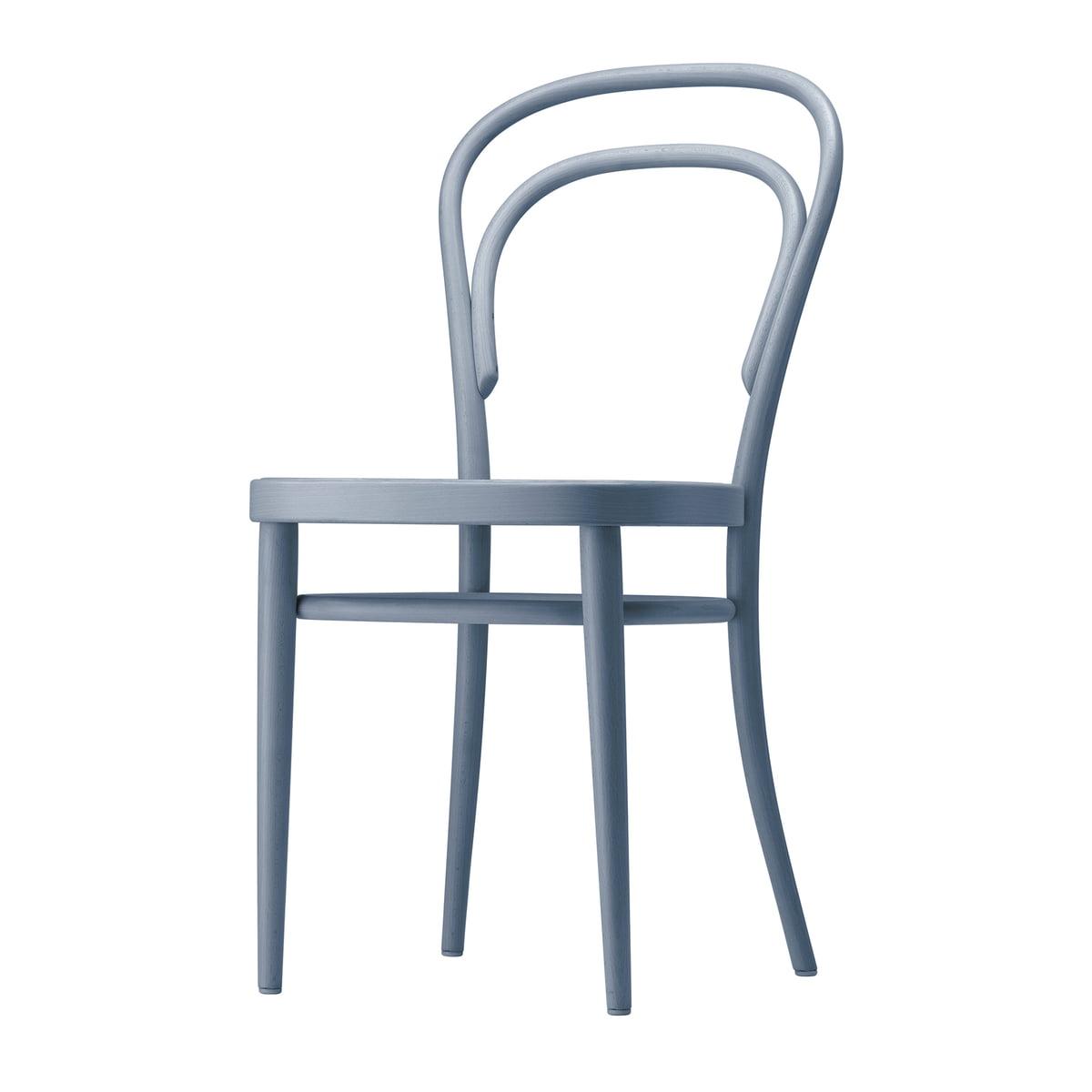 Thonet - 214 M Bugholzstuhl, Muldensitz Formsperrholz / Buche taubenblau gebeizt (TP 257) | Küche und Esszimmer > Stühle und Hocker > Holzstühle | Taubenblau | Thonet