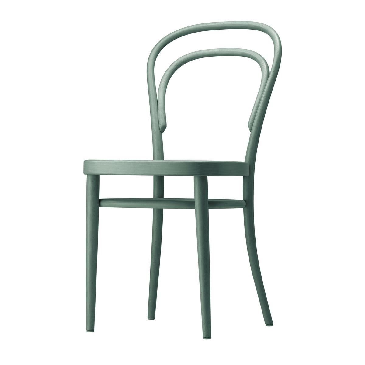 Thonet - 214 M Bugholzstuhl, Muldensitz Formsperrholz / Buche graugrün gebeizt (TP 269) | Küche und Esszimmer > Stühle und Hocker > Holzstühle | Graugrün | Thonet