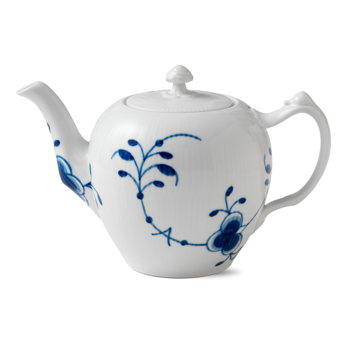 Royal Copenhagen - Mega Blau Gerippt Teekanne 1 l | Küche und Esszimmer > Kaffee und Tee > Teekocher | Blau/weiß | Royal Copenhagen