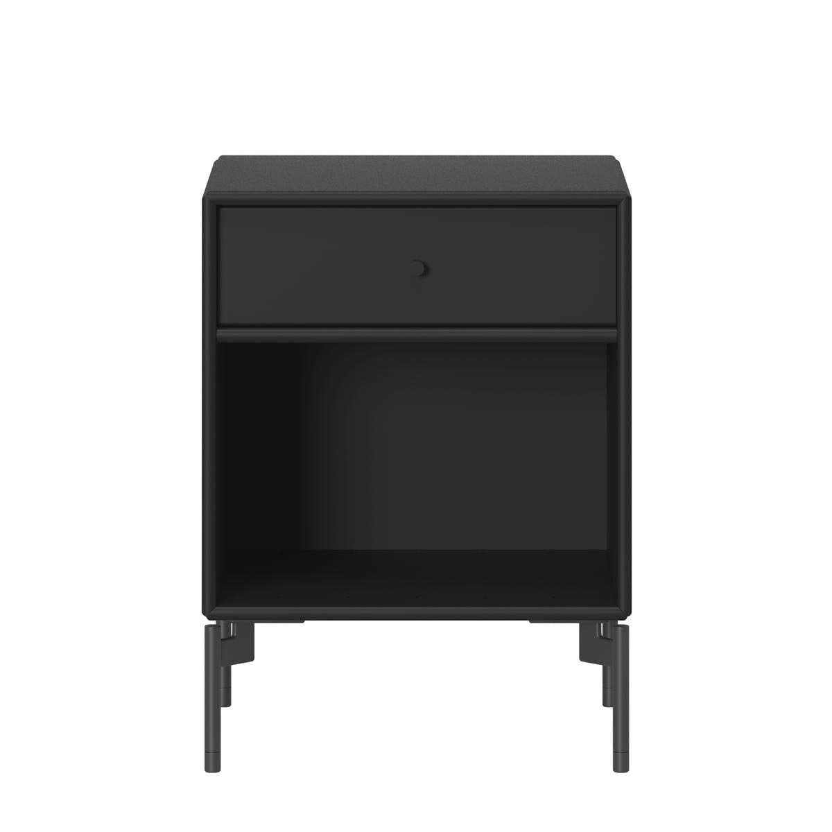 Montana - Dream Nachttisch mit Beinen, schwarz | Schlafzimmer > Nachttische | Schwarz | Mdf | Montana