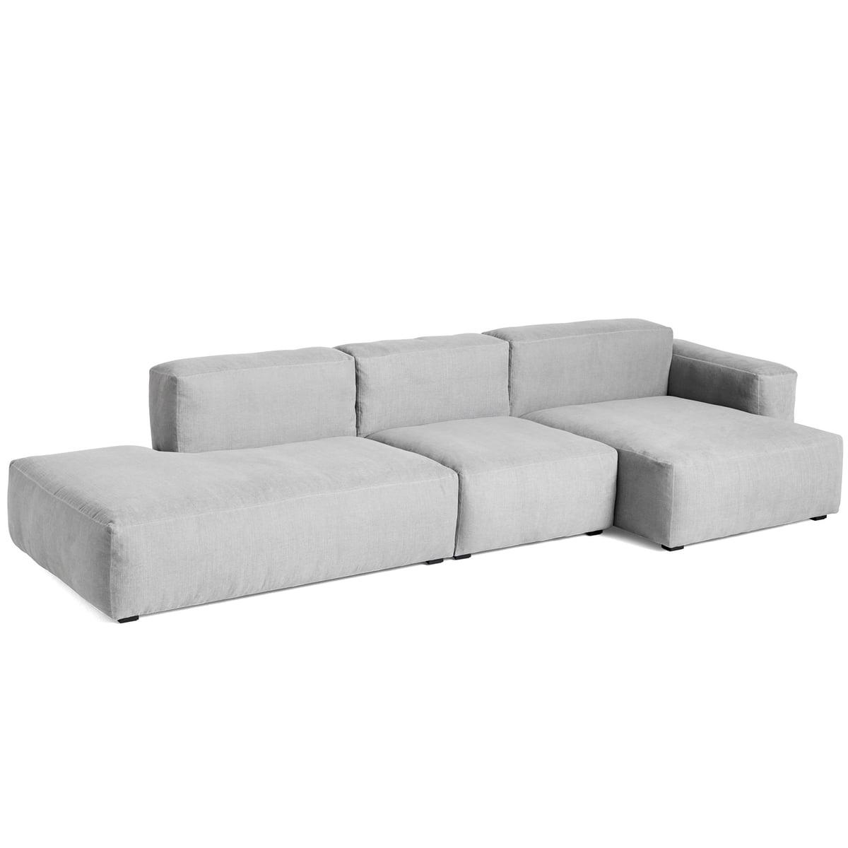 Hay mags soft sofa 3 sitzer  kombination 4 armlehne niedrig rechts hellgrau linara 443 frei