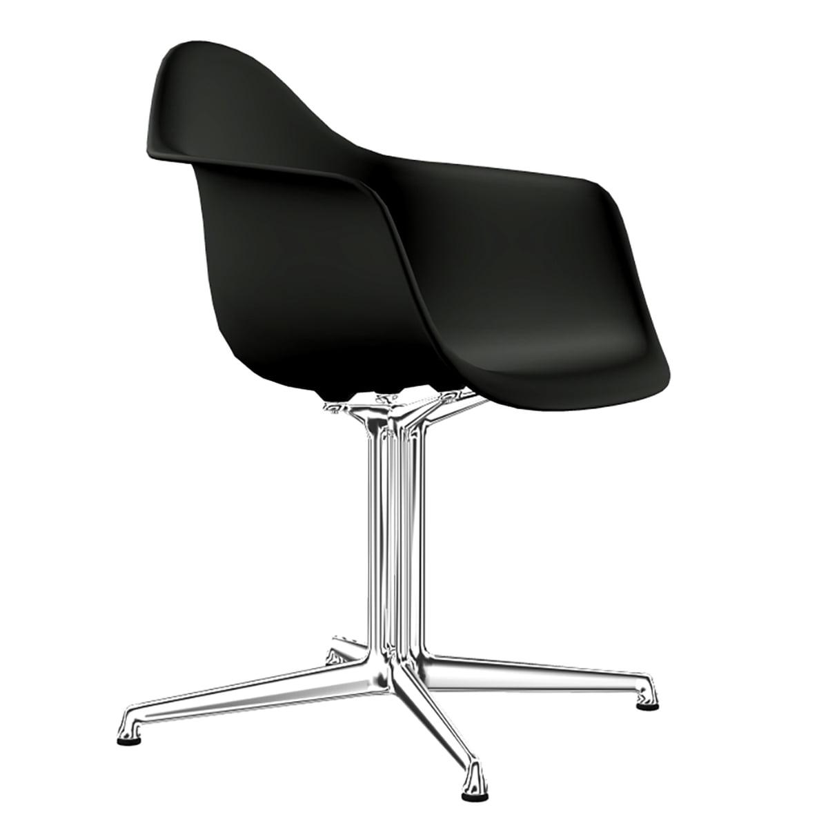 Vitra - Eames Plastic Armchair DAL, Aluminium poliert / tiefschwarz (Filzgleiter basic dark) | Küche und Esszimmer > Stühle und Hocker > Armlehnstühle | Basic dark | Vitra