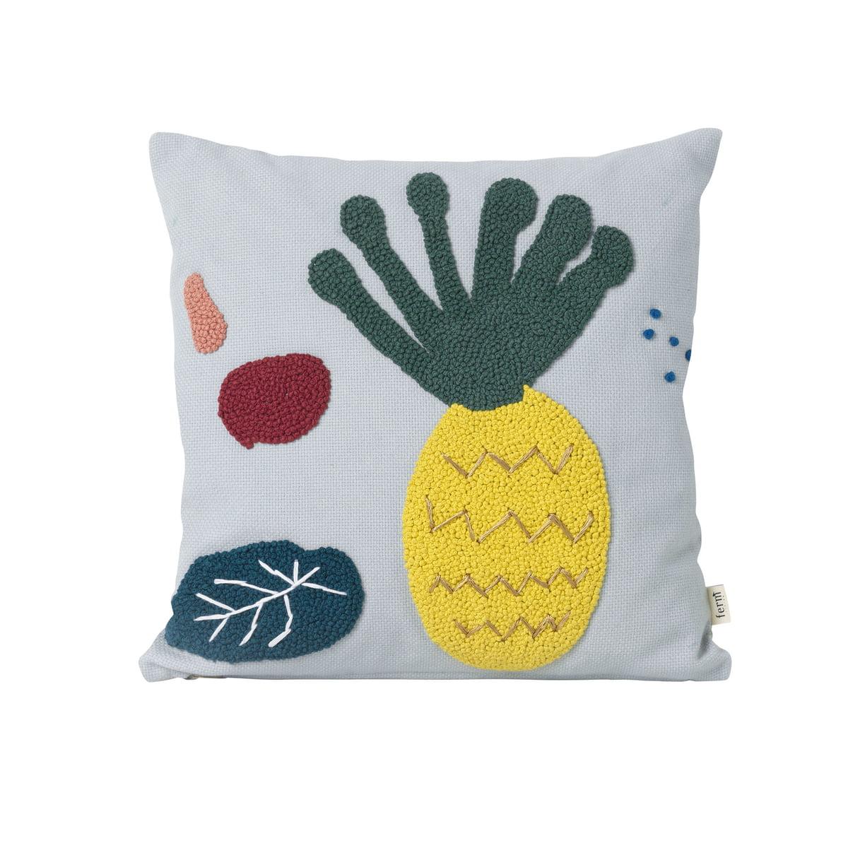 ferm Living - Besticktes Kinder-Kissen \´´Ananas\´´´´, blau´´   Kinderzimmer > Textilien für Kinder   Blau   ferm living