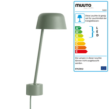 Die Lean Wandleuchte LED von Muuto in dusty green