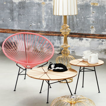 OK Design - The Condesa Chair, pink, Bam Bam table