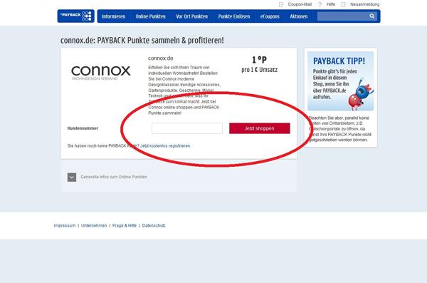 Screenshot Payback Registration